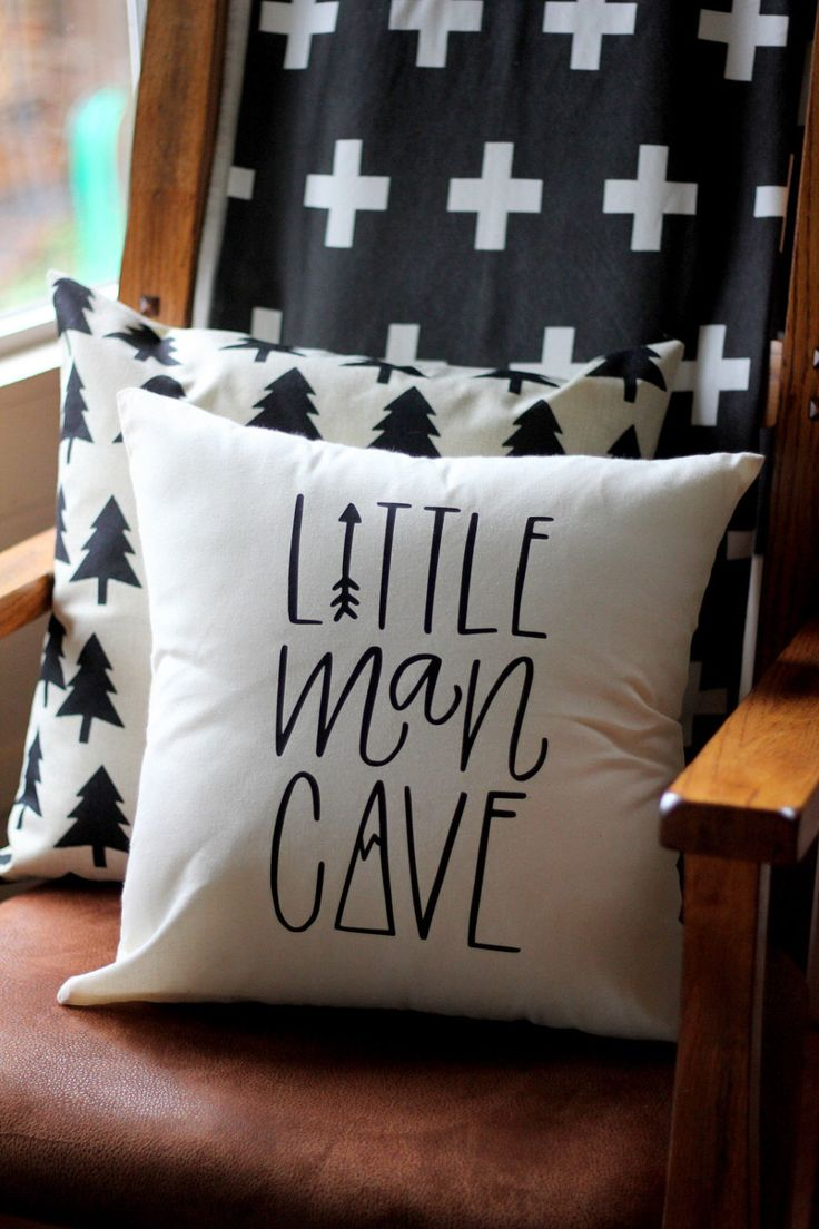 Litttle Man Cave Hand drawn Nursery Pillow Mountain Arrow Adventure Explore Forest Theme 16 x16 Trees Handwritten by DreamState on Etsy https://www.etsy.com/listing/500402889/litttle-man-cave-hand-drawn-nursery