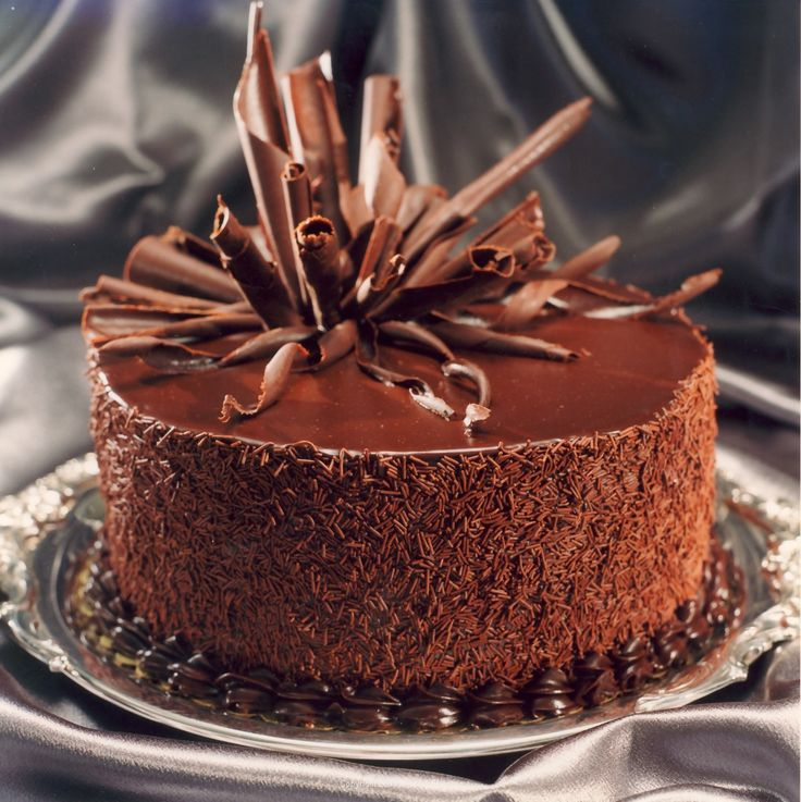 ** Dark chocolate cake decorated with chocolate curls.