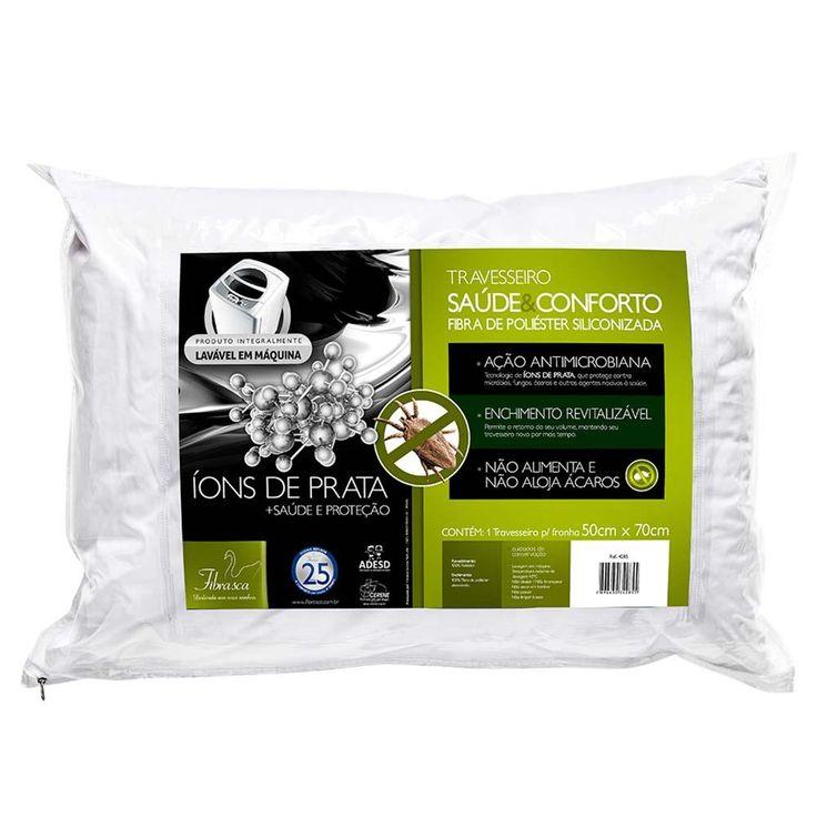 [EXTRAMOB]Travesseiro Fibrasca Saúde Conforto Íons De Prata - Látex E Viscoelástico - R$17