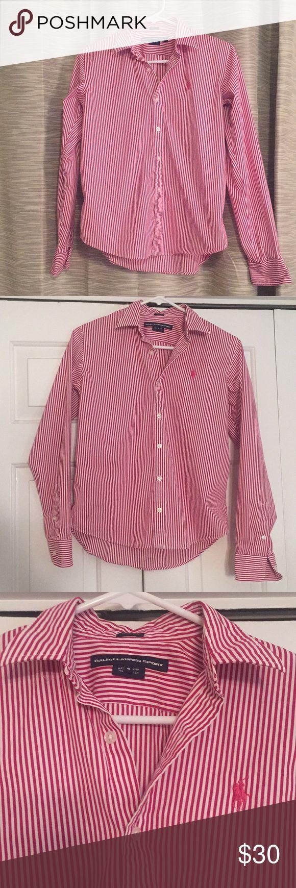 Dark Pink Striped Ralph Lauren Dress Shirt Great for the office. Dark pink & white button down dress shirt. Size 6. Ralph Lauren. Feminine slim fit. Worn once. Dark pink polo horse. Ralph Lauren Tops Button Down Shirts