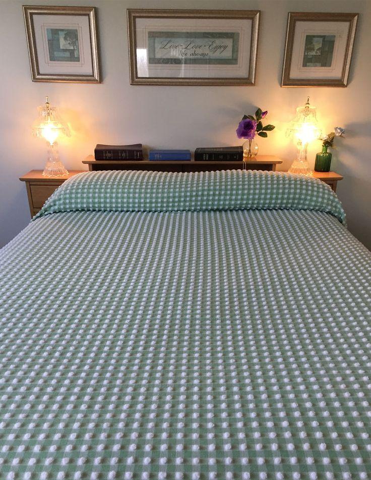 VTG Green White Gingham Chenille Bedspread * MORGAN JONES * FULL Size