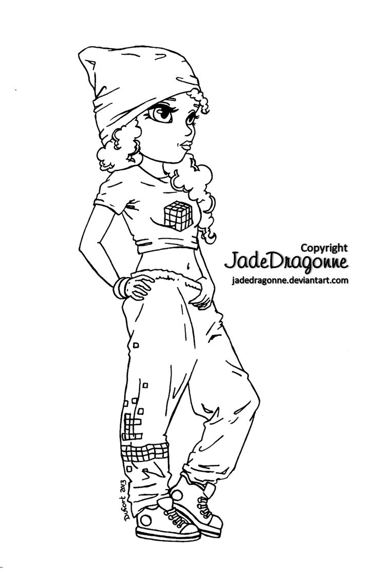 Hip Hop Dancer Lineart by JadeDragonneviantart on deviantART