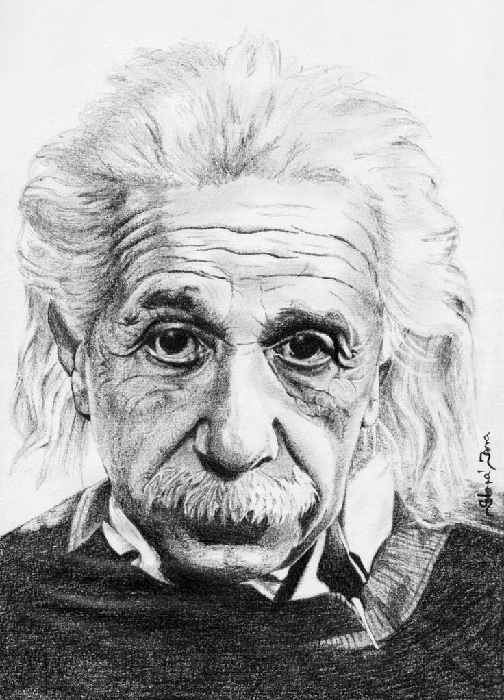 """Albert Einstein""  starší práce, A4, tužky"