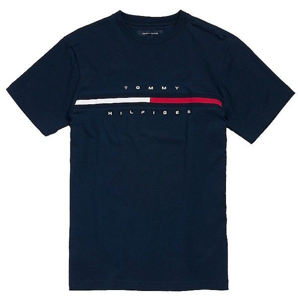 hilfiger logo tee liked on polyvore featuring tops t. Black Bedroom Furniture Sets. Home Design Ideas