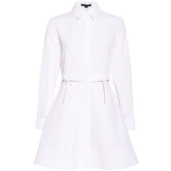 Alexander Wang Long Sleeve Shirt Dress ($717) ❤ liked on Polyvore featuring dresses, short dresses, white, white cut out dress, white dress, white cutout dresses and short white dresses