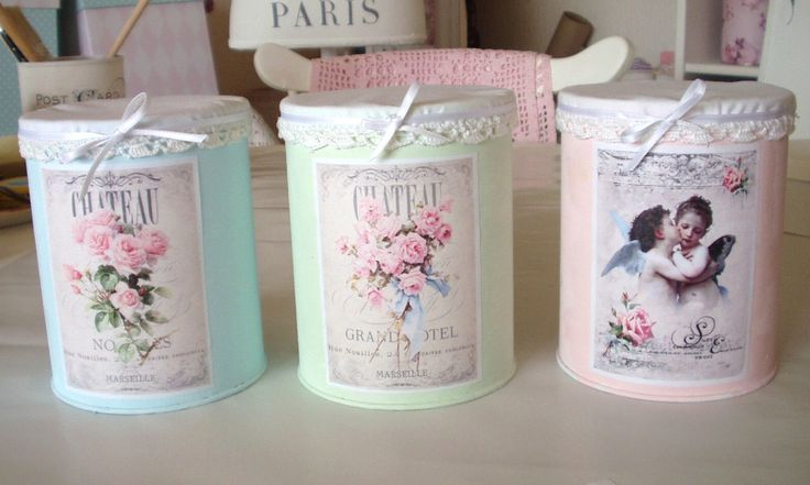 Shabby chic altered cans..