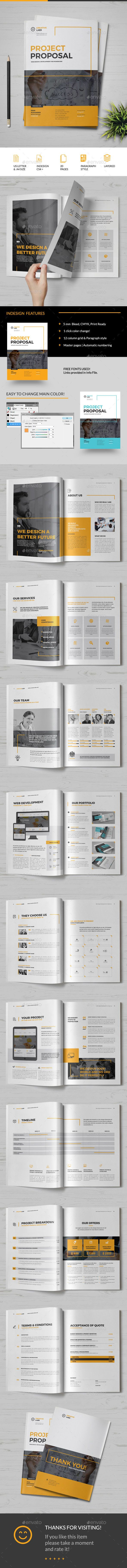 Proposal Template InDesign INDD - 20 Pages, A4 & US Letter Size