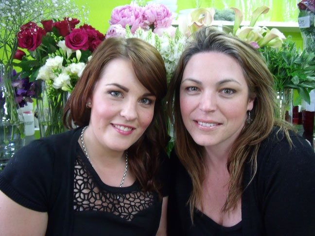 About The Blossom Room. This is us, the wonderful Tessa on the left and me, Suzie on the right, in the flower stand!