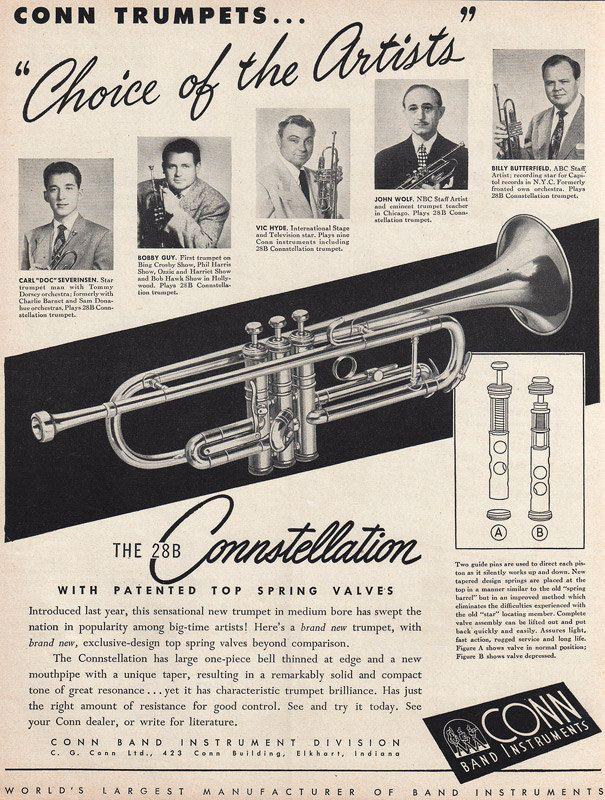 1950 CONN TRUMPET Original Music Ad 28b by phorgotten on Etsy