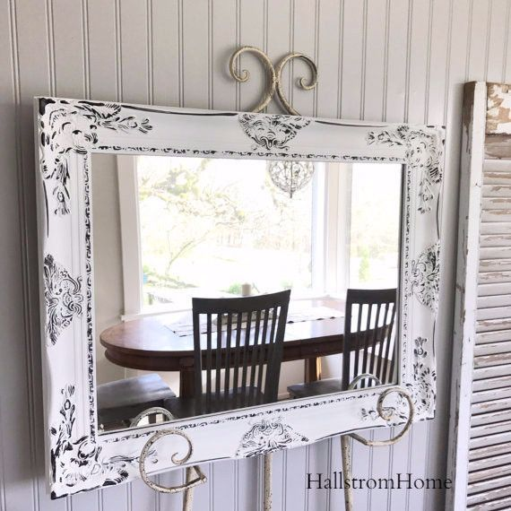 Beautiful Shabby Chic Mirror **HOW TO DESIGN YOUR OWN CUSTOM WOOD FRAMED MIRROR WITH SIZE OPTIONS BELOW Are you looking for that perfect mirror in a custom color? Please review the color chart provide