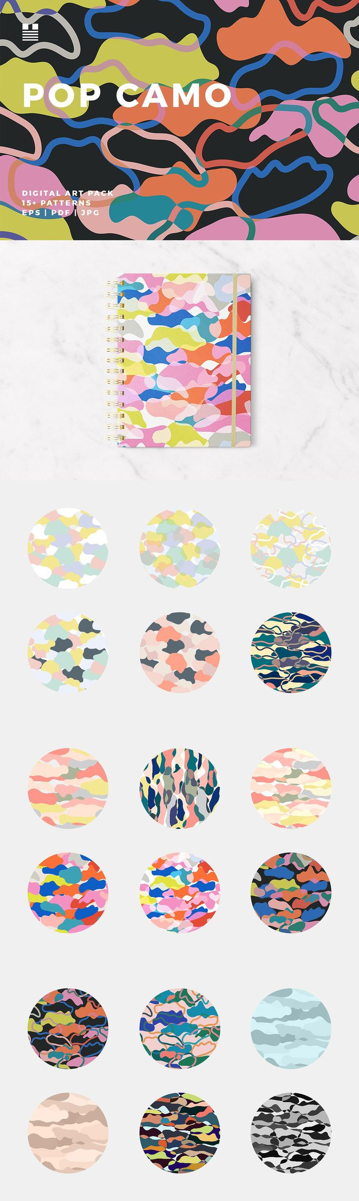 Enjoy this set of peace-lovin' contemporary camo-style patterns. The designs are in soft pastels and bold bright colorways. Use these patterns for packaging, invitations, cards, gift wrap, wallpaper, notebook and book covers, social media banners, blog headers, Instagram posts, flyers, posters, fabric prints, stationery, collage, photo layering and masking, within typographic designs, etc. Set includes 19 seamless patterns. Image files are 16″x16″ EPS, PDF and JPG files. An affiliate link.