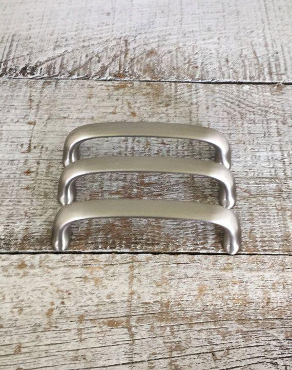 Drawer Handles 3 Drawer Pulls Vintage Stainless Steel Drawer Handles Vintage Dresser Hardware Cabinet Drawer Handles Silver Handles