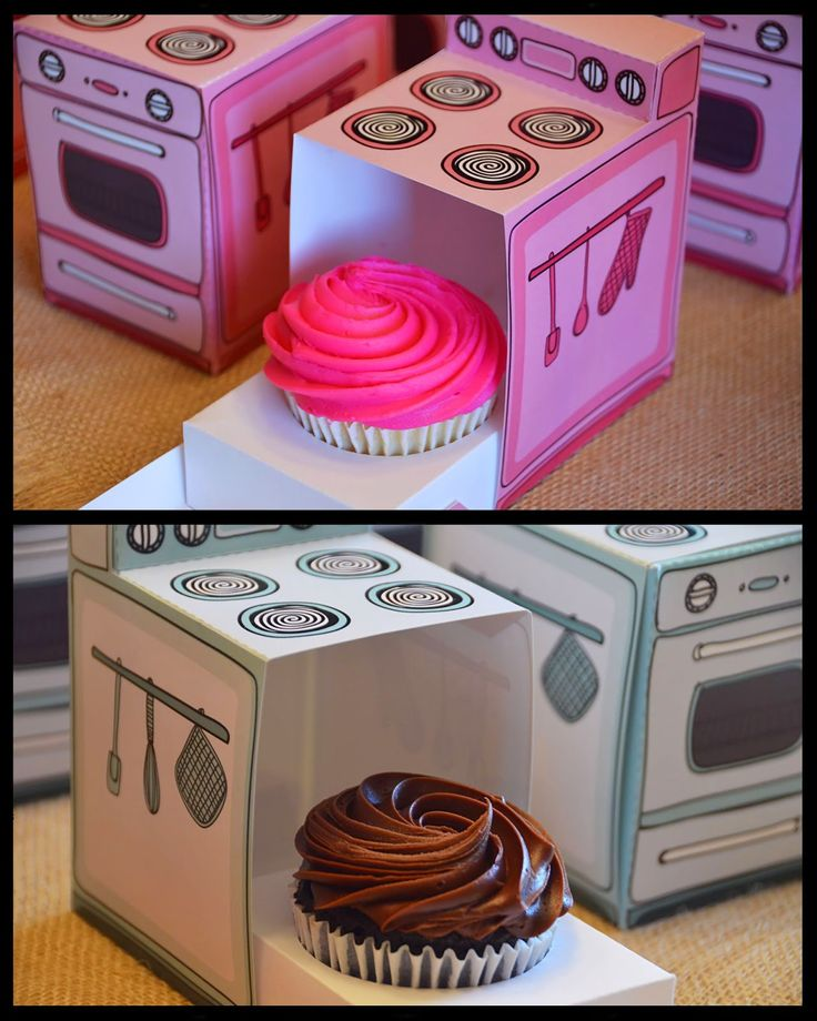 """What a great """"take home"""" treat idea!  Love the cupcakes inside these cute ovens!!!  My Title Wave: """"A Wish Come True!"""""""