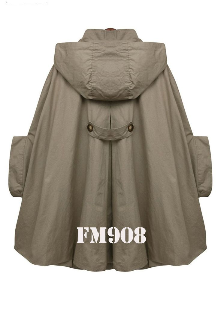 【 For More Coats】 For more coats, please check my partners shop https://www.etsy.com/shop/JulyS?section_id=7954215&ref=shopsection_leftnav_2PIECE =========== INFORMATION This coat / jacket / cape/cloak is one of the most popular items in my shop. * Material: 100% cotton * Lining:Fully lined with high quality cotton 100% cotton. * Double breasted button *.Removable hood ( metal zip closure) *Pockets by sides ====== * cape measurement : SIZES: XS Size XS: 27.5/ 69cm shoulder to bottom back...