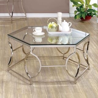 Furniture Of America Martello Contemporary Chrome Glass Top Hexagon Coffee  Table