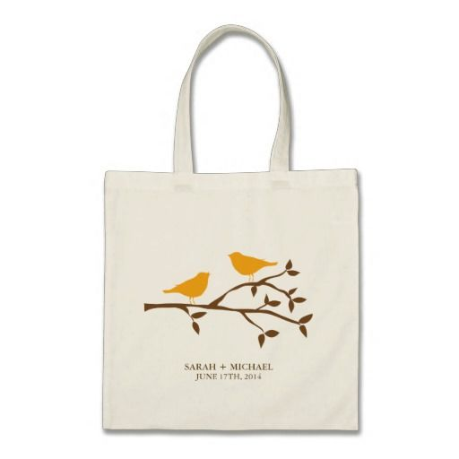 Orange Love Birds Canvas Bags