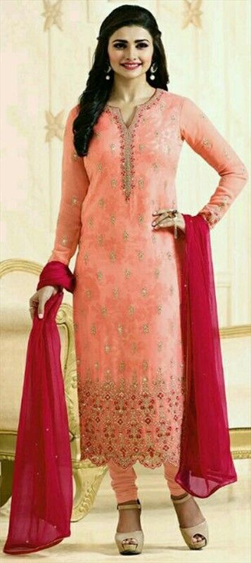 490942 Orange  color family Bollywood Salwar Kameez in Faux Georgette fabric with Machine Embroidery, Resham, Stone, Thread, Zari work .