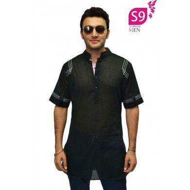 Googly black stylish semi formal short kurta #Ethnickurtas #Kurta #Kurtas