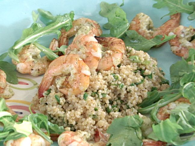 Mint Marinated Grilled Shrimp Tabbouleh Salad Recipe : Bobby Flay : Food Network - FoodNetwork.com