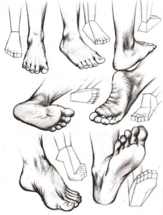 como dibujar partes del cuerpo, pies