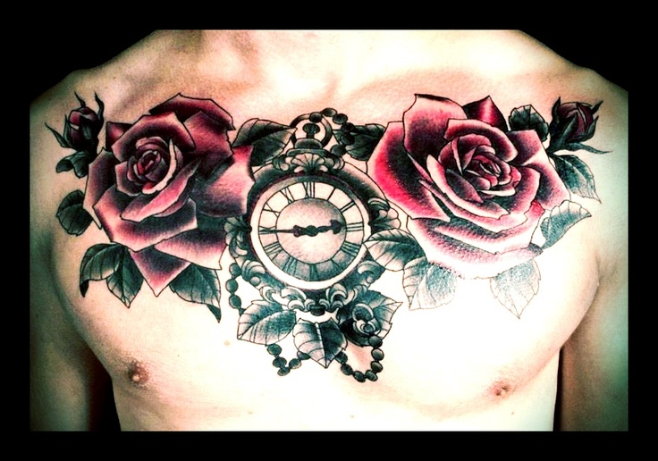 Pocket Watches, Chest Piece Tattoos And Rose Buds On Pinterest
