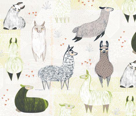 Llamas by Friztin fabric by friztin on Spoonflower - custom fabric
