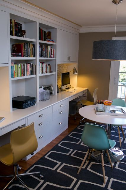 My ideal gaming room: built-in double desk with open shelves and closed storage, large gaming table