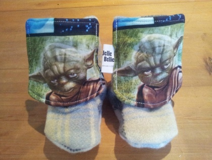 Upcycled Wool Blanket Baby Boots Blue checked- Yoda available for sale!! International shipping and custom orders done by request!