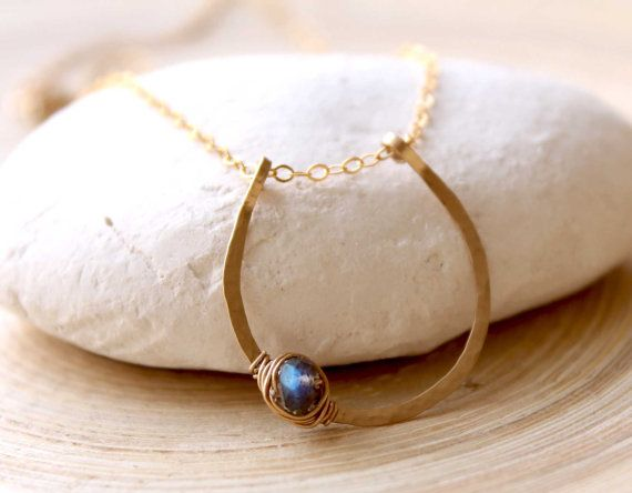 Gold Filled Horseshoe Necklace, Gold filled and Labradorite stone necklace, Lucky Horseshoe with Gemstone Labradorite, Lucky Charm necklace on Etsy, $53.26 CAD