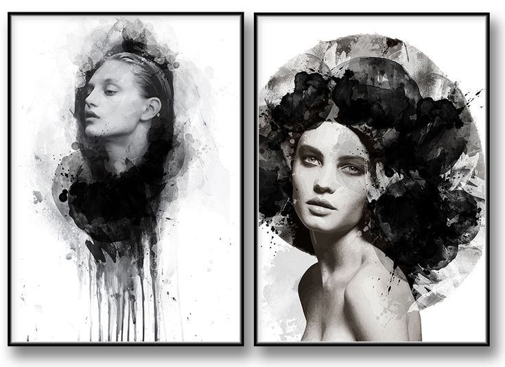 Black and White Fashion Art-Akvarell illustration