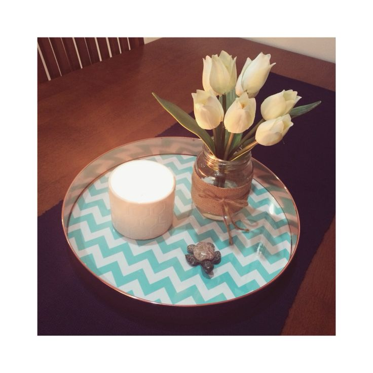 Kmart Hack! Copper clock turned into a table centrepiece tray. I'm so so happy with how this turned out :-)