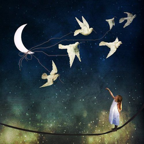 made by: Christian Schloe - (Birds with string tied to the moon)