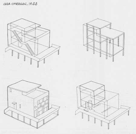 (1922) Second version of Maison Citrohan (Concept) - Le Corbusier