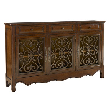 Tuscan Italian Walnut Scroll 3 Drawer Console Sofa Table Chest Buffet Style Furniture Doors