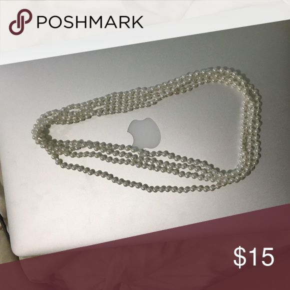 White Pearl Necklace Costume jewelry. One long strand that can be wrapped around to change length. Great for boudoir, wedding activities or just everyday! *PLEASE BUNDLE OR I WILL NOT SHIP* 😊 pair with my veil😊 Jewelry Necklaces