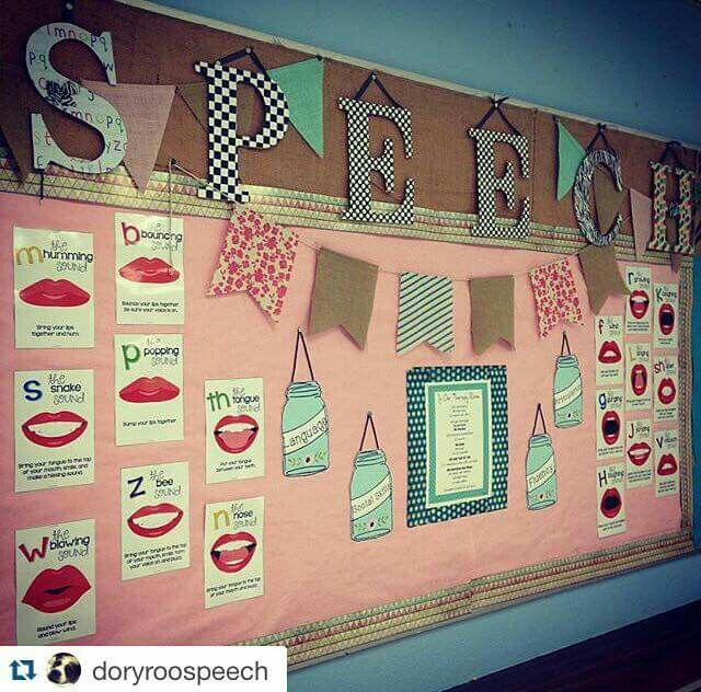 Bulletin board using They're in my TpT store! https://www.teacherspayteachers.com/Product/Speech-Sounds-by-Letter-Posters-1955455