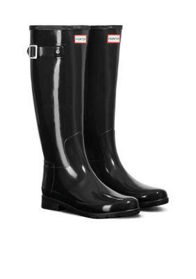 Hunter Women's Original Refined Gloss Rain Boot - Black - 11M