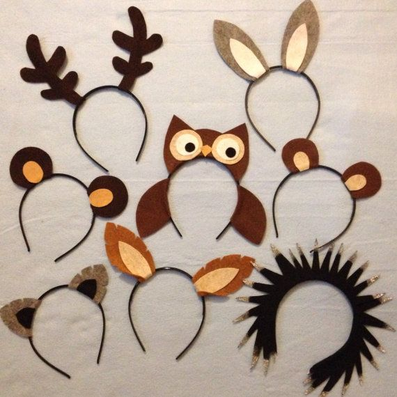 www.partyears.etsy.com Woodland wild animals nature theme forest creatures ears headband. Nx