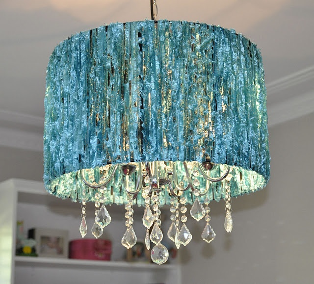 At First I Couldnu0027t Figure Out What They Put On This Sheer Black Chandelier  Shade To Change It So Much. Itu0027s Fuzzy Blue Eyelash Yarn, Wrapped Around  Top To ...