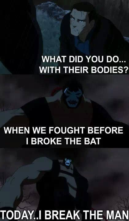 Bruce Wayne and Bane from Justice League: Doom