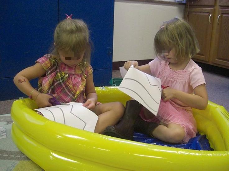Cutting Pool @ Fun-A-Day: Cut Pools, Rainy, Fine Motors Skills, Kids Crafts, Fine Motors Activities, Fun A Day, Preschool Fine Motors