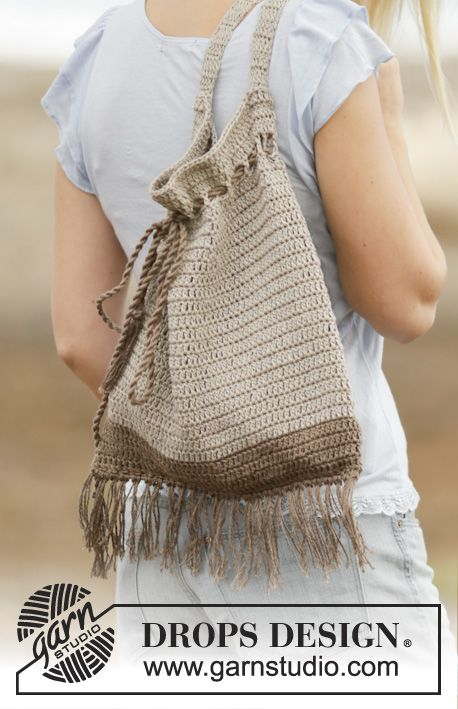 Crochet DROPS bag with ties and fringes in Bomull-Lin or Paris.