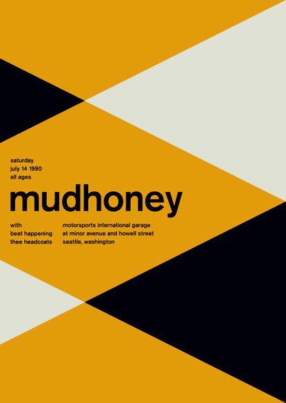 Yellow helvetica music poster