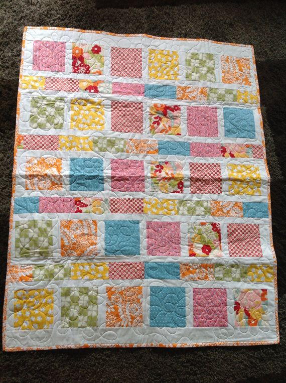Modern Floral Baby Girl Quilt By Thechirpingbirds On Etsy