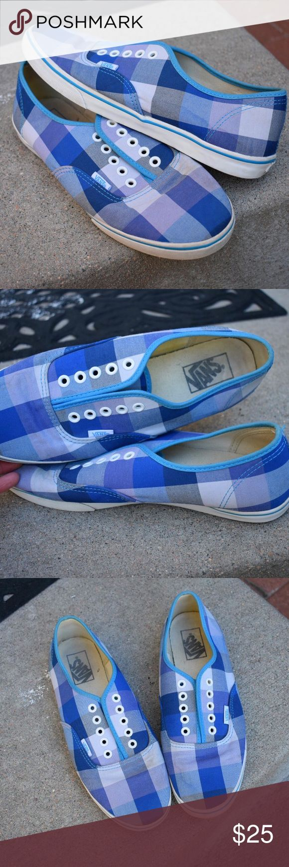 Plaid Vans Shoes GUC, the inside of the shoes is just a little bit dirty. (NOTE: these have water marks on them in the picture because I had just taken them out of the wash- they are not stained that way) I also do not have laces for these. Men's 8.5, women's 10. Shoes Sneakers