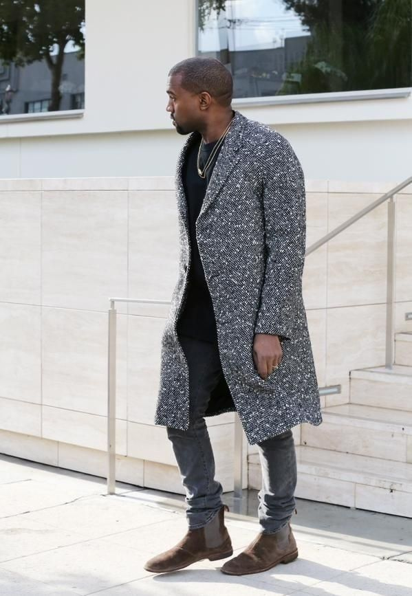 Kanye West's New York City Saint Laurent Black and White Wool Blend Raglan Sleeve Coat