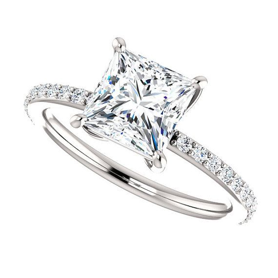 Moissanite and Diamonds Engagement Ring| 1.70 Carats Princess Cut Forever One Moissanite| 18k White Gold| 22 Diamonds