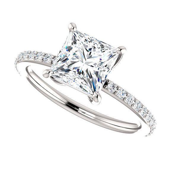 Moissanite and Diamonds Engagement Ring| 1.70 Carats Princess Cut Forever One Moissanite| 18k White Gold| 22 Diamonds