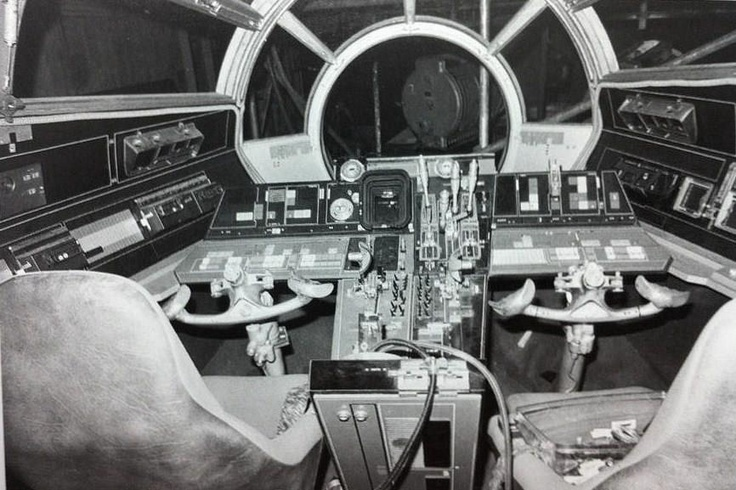 Millennium Falcon cockpit interior set. Presumably for Star Wars A New Hope.
