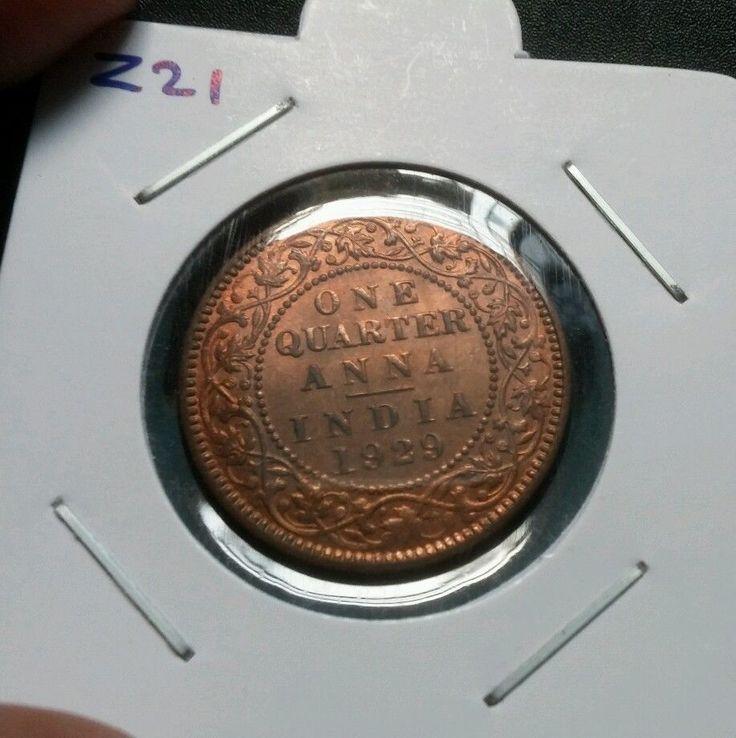 1929 BRITISH INDIA 1 QUARTER ANNA KING GEORGE V CALCUTTA MINT UNC COIN